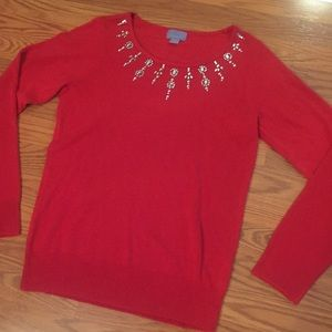 Elegant Red Beaded Rhinestone Sweater